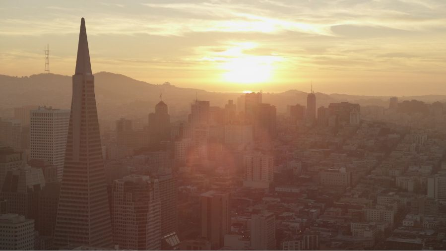San Francisco at sunset.