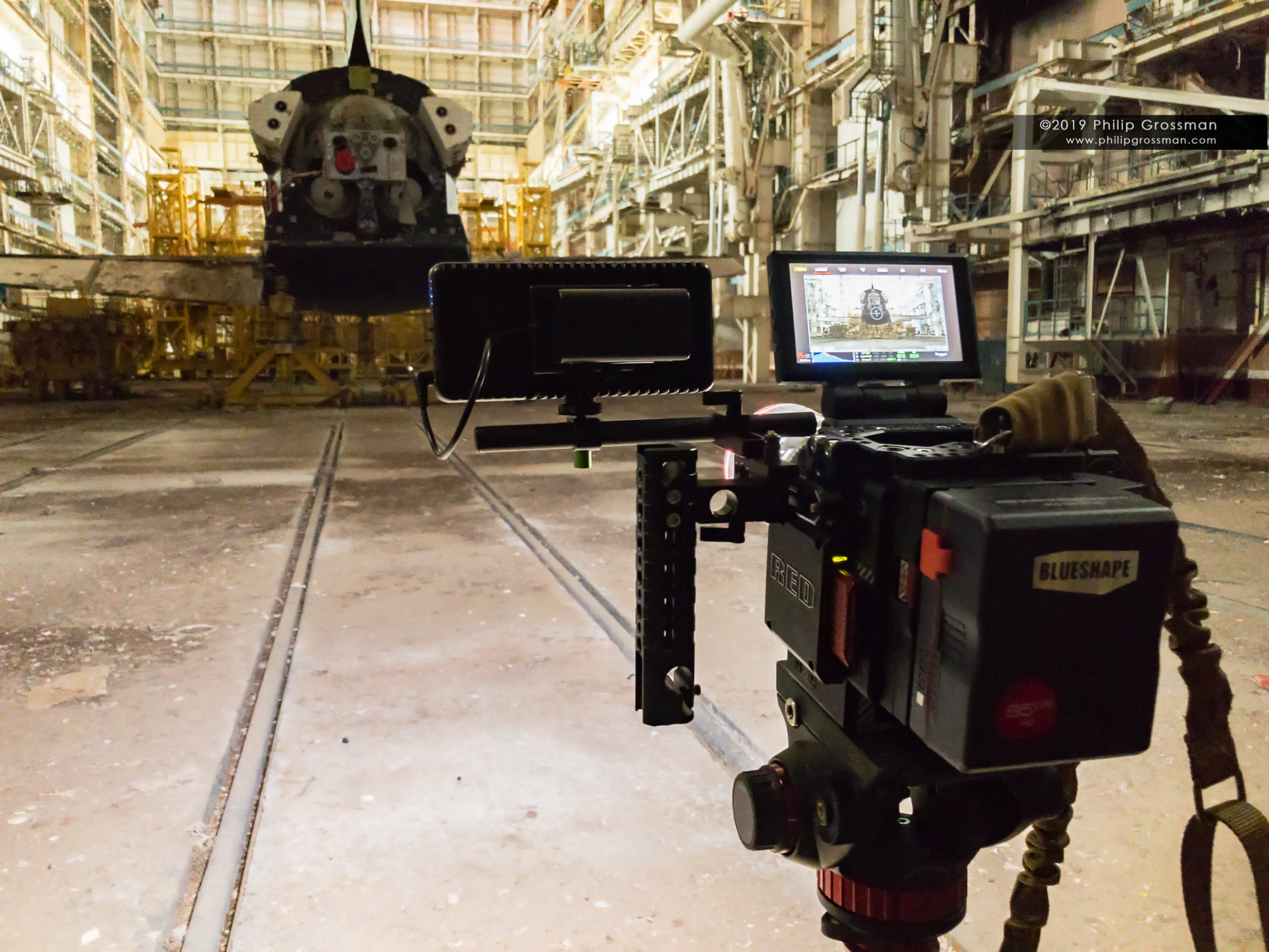 Philip filming inside the Energia-Buran Hazardous Servicing building in the Baikonur Cosmodrome