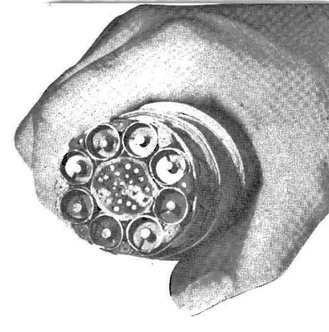 AT&T trunkline coax circa 1949. Each coax could hand 480 telephone calls or 1 television video signal. Audio had to travel via a separate circuit. From Wikipedia