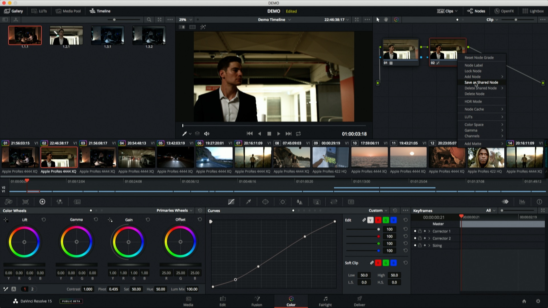 DaVinci Resolve 15 - Shared Nodes