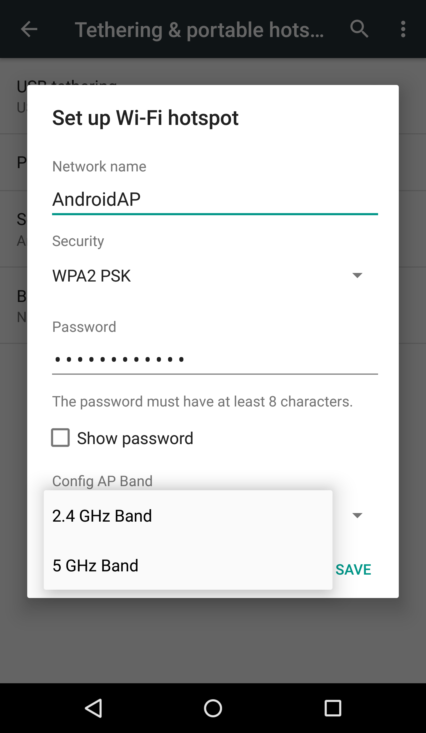 Android Hotspot 5 GHz