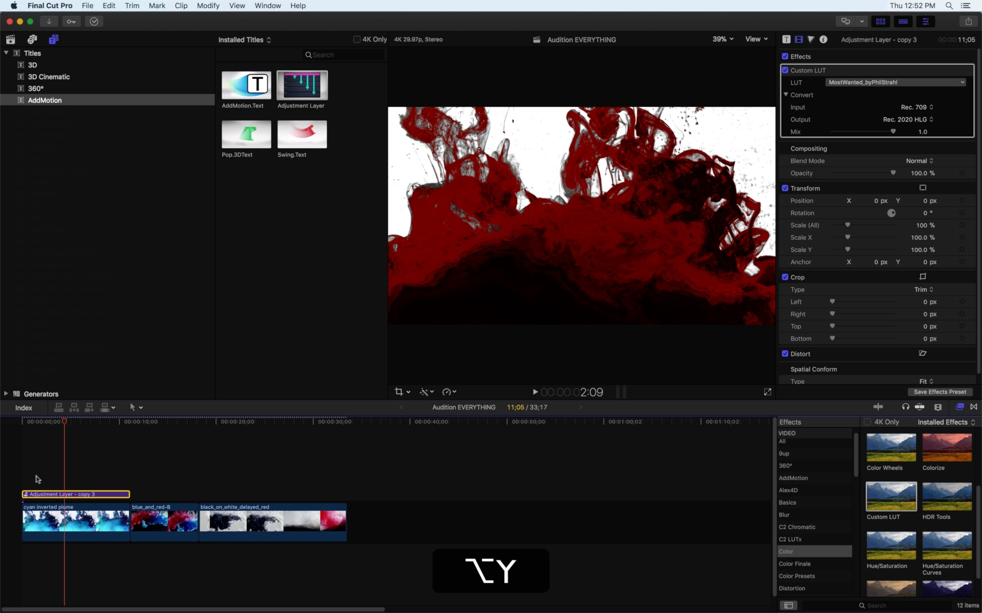 Day 27 #28daysofQuickTips 2018 – Audition Adjustment Layers as Effect Collections in Final Cut Pro X 16