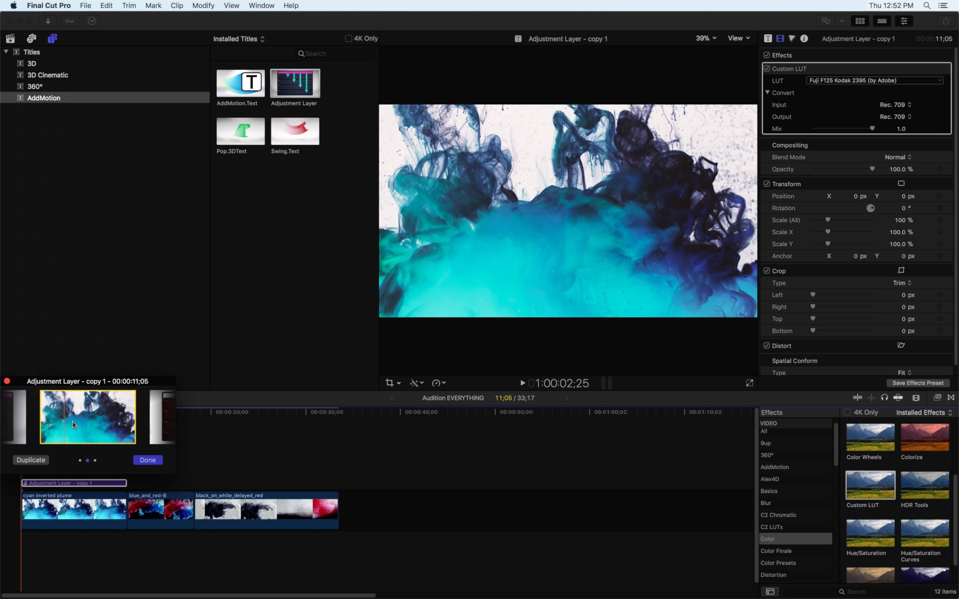 Day 27 #28daysofQuickTips 2018 – Audition Adjustment Layers as Effect Collections in Final Cut Pro X 17