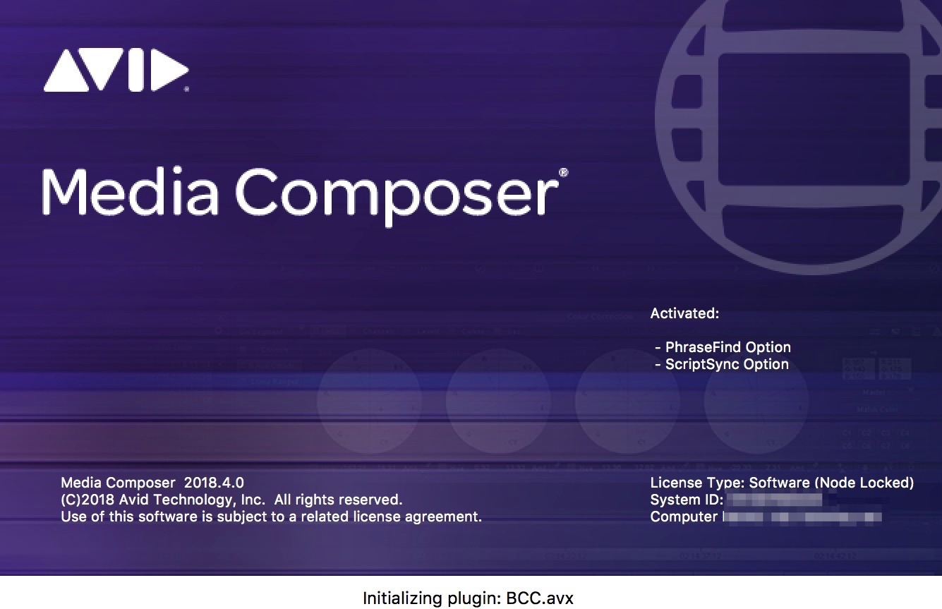 Avid Media Composer splash screen