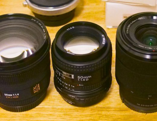 Three 50mm lenses with different front element sizes