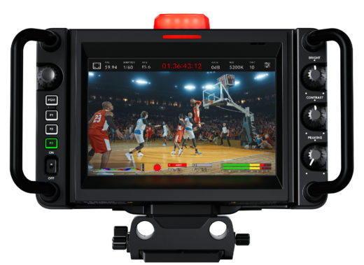 Rear view of the Blackmagic Studio Camera 4K Pro showing the seven-inch viewfinder