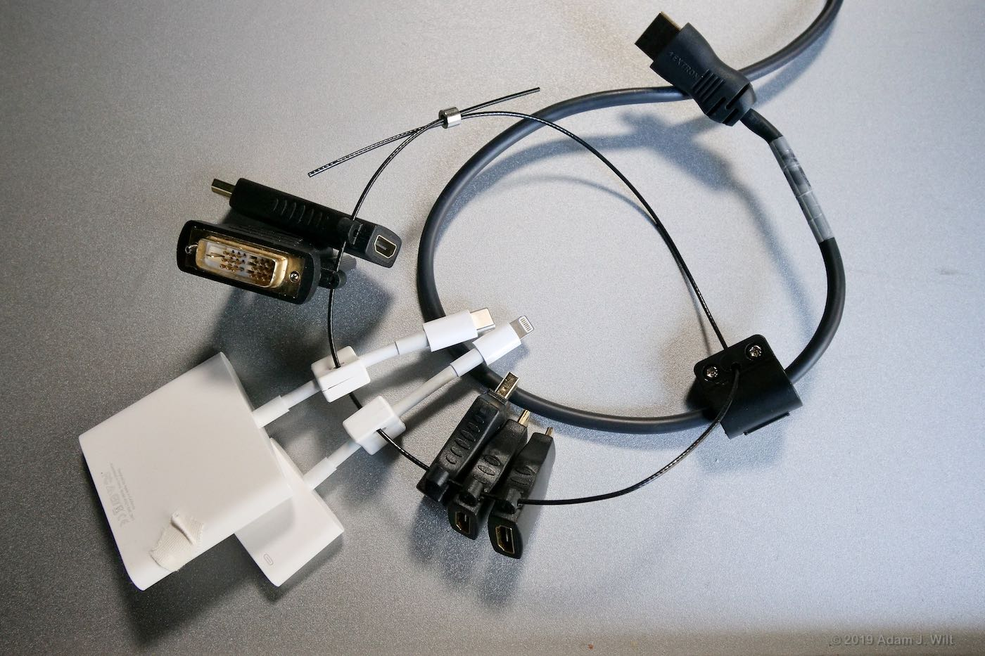 Array of video connection adapters in the classroom