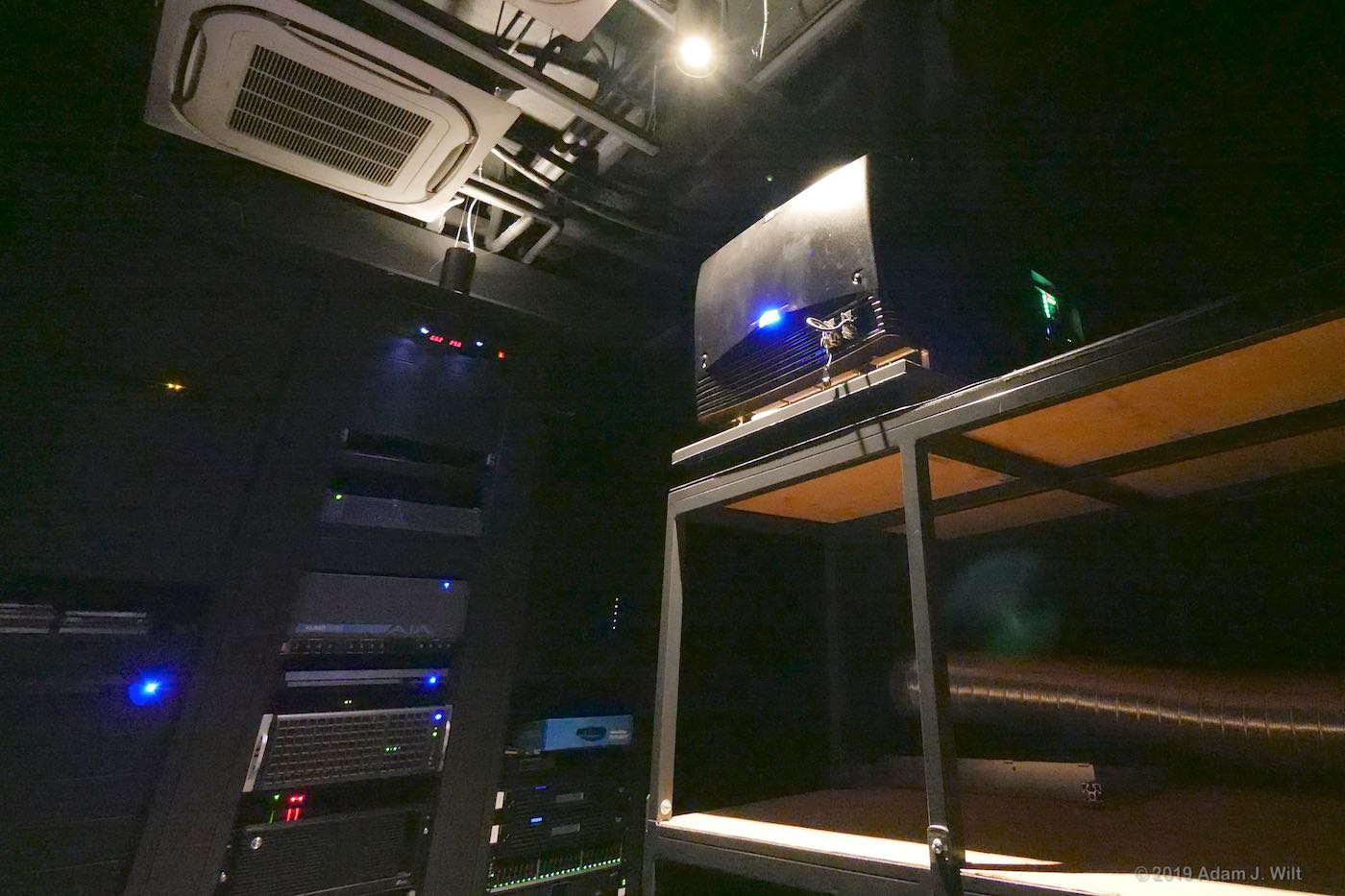 Barco 4K projector and racks of fast storage