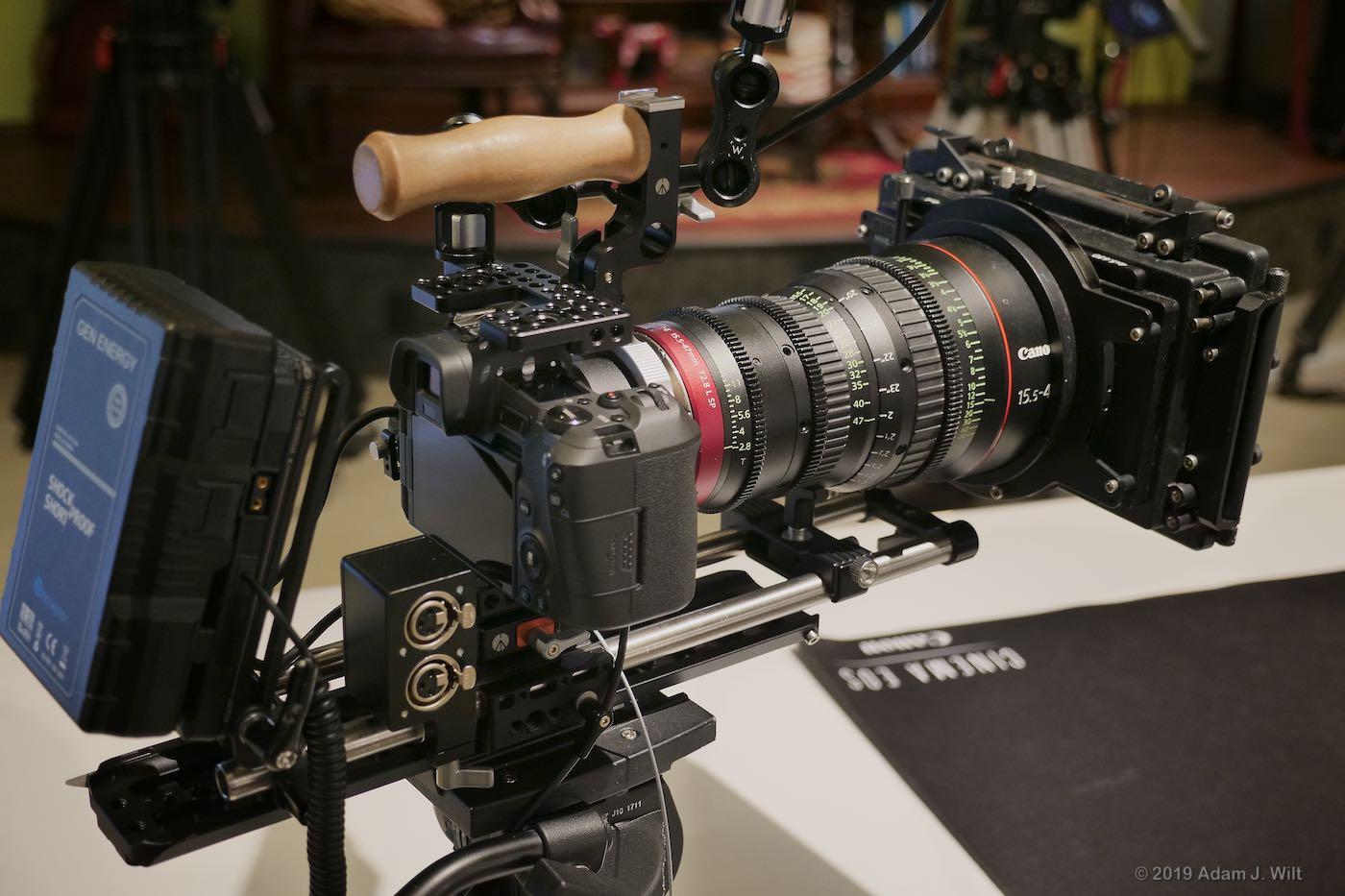 EOS R in Wooden Camera PL-mount rig