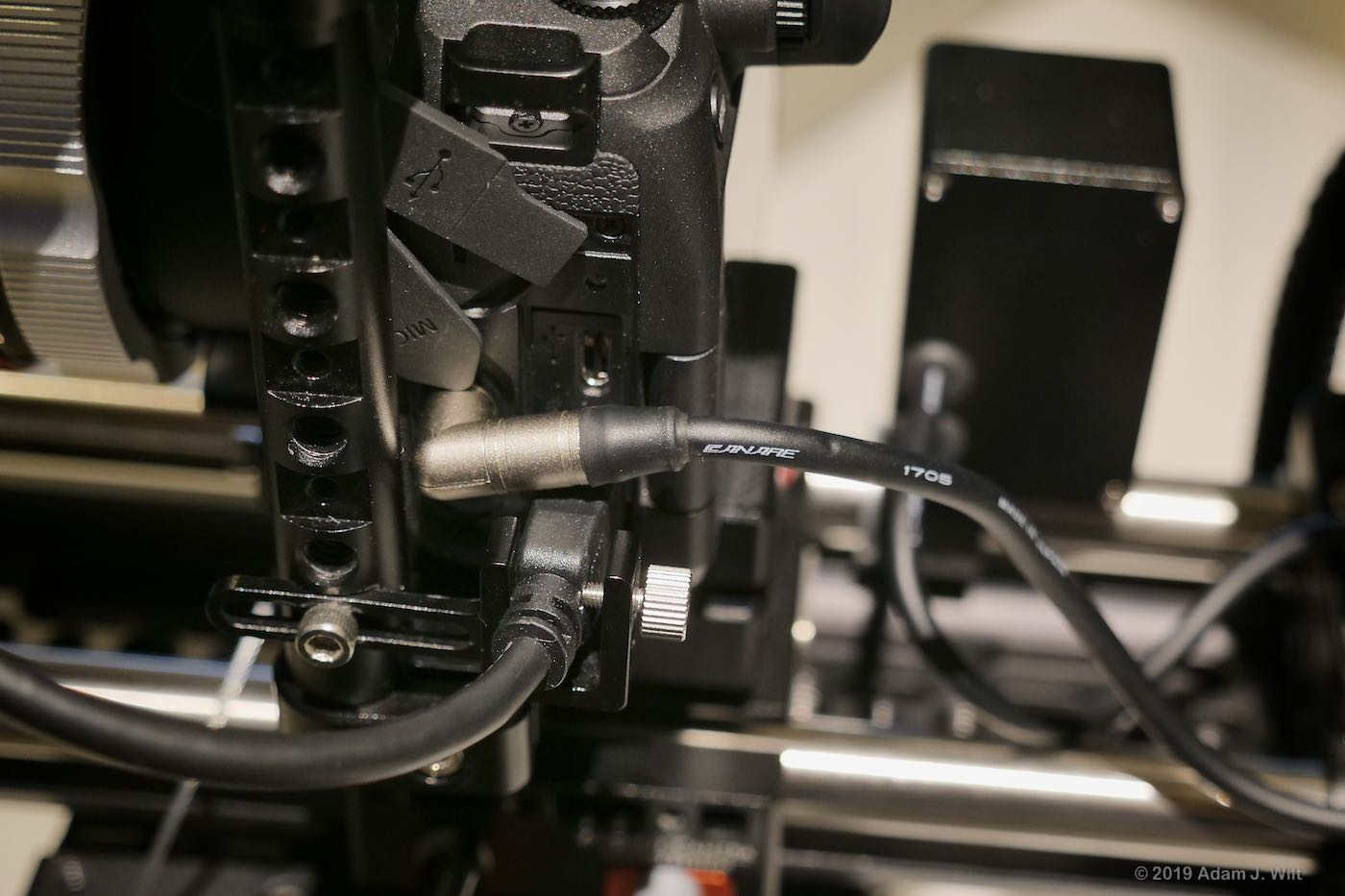 The rig's XLR breakout cable and HDMI lock