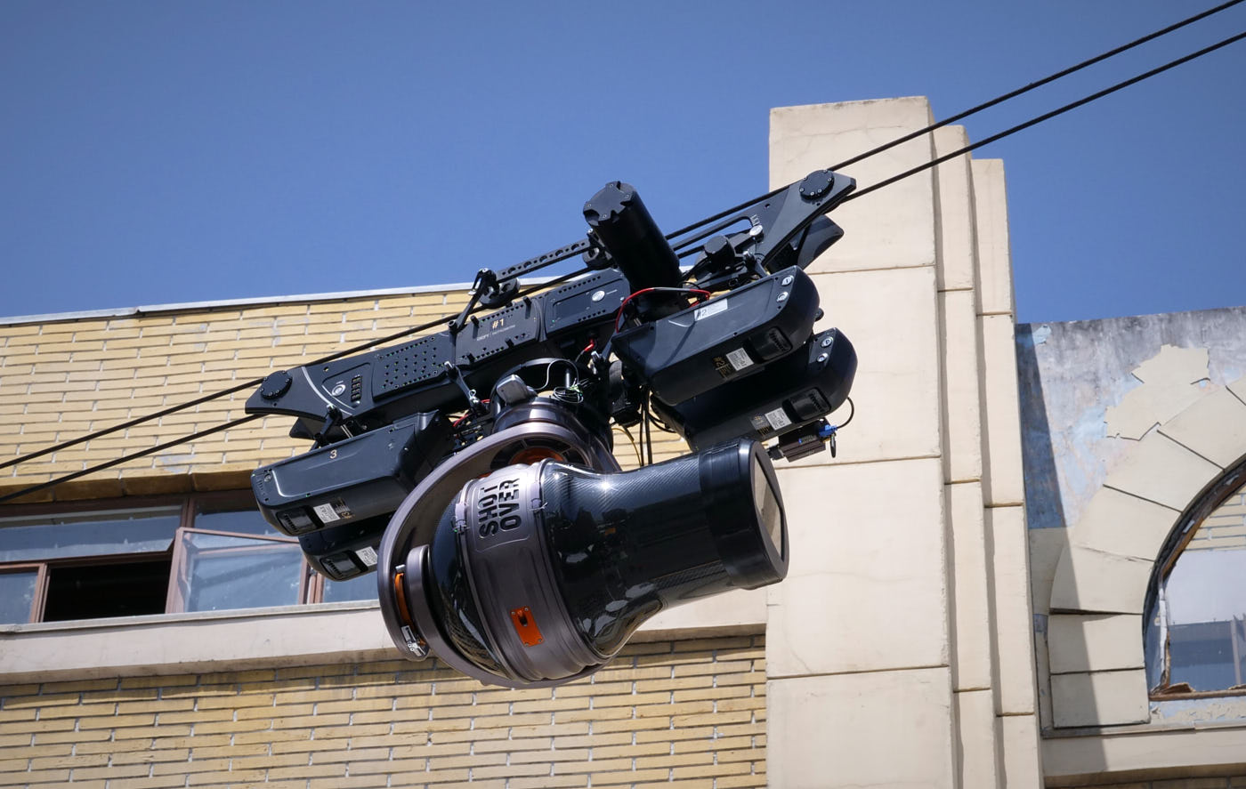 A cable-cam traversing the New York Street Set