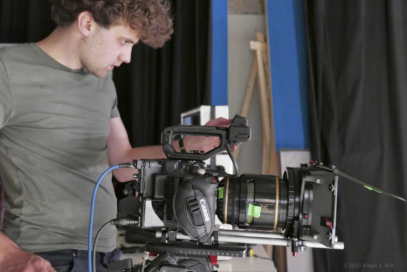 Erik aiming the Canon C500 Mark II