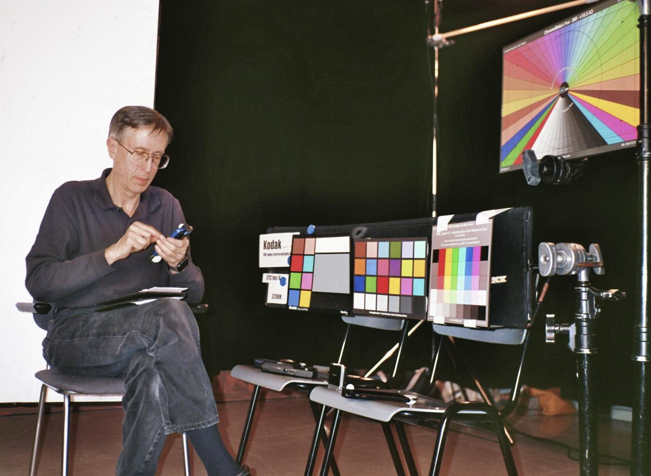 Adam Wilt fiddling with color meters