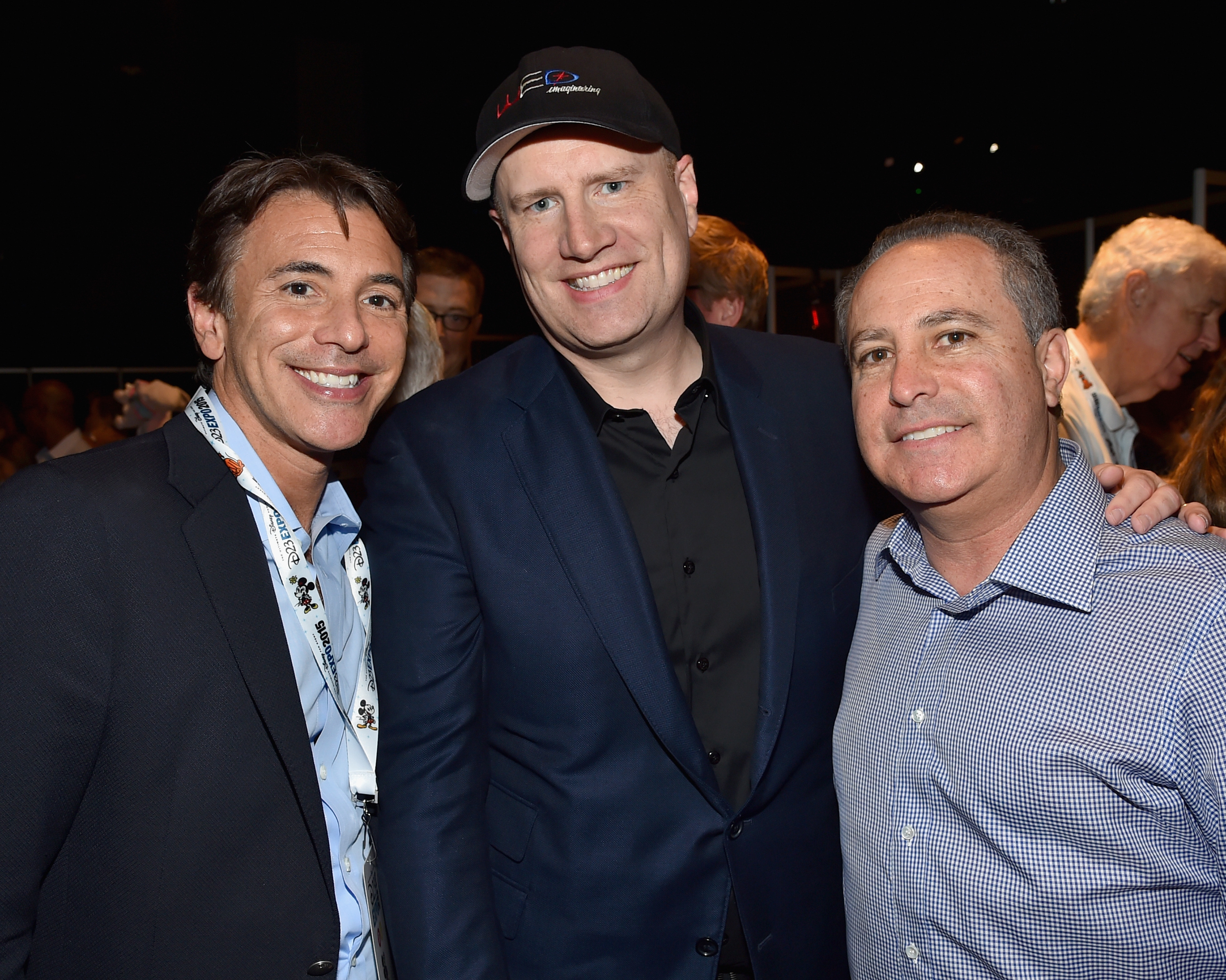 "ANAHEIM, CA - AUGUST 15: Producer Kevin Feige of CAPTAIN AMERICA: CIVIL WAR (C) with President of Marketing for The Walt Disney Studios, Ricky Strauss (L) and President, The Walt Disney Studios, Alan Bergman (R) took part today in ""Worlds, Galaxies, and Universes: Live Action at The Walt Disney Studios"" presentation at Disney's D23 EXPO 2015 in Anaheim, Calif. (Photo by Alberto E. Rodriguez/Getty Images for Disney) *** Local Caption *** Kevin Feige; Ricky Strauss; Alan Bergman"