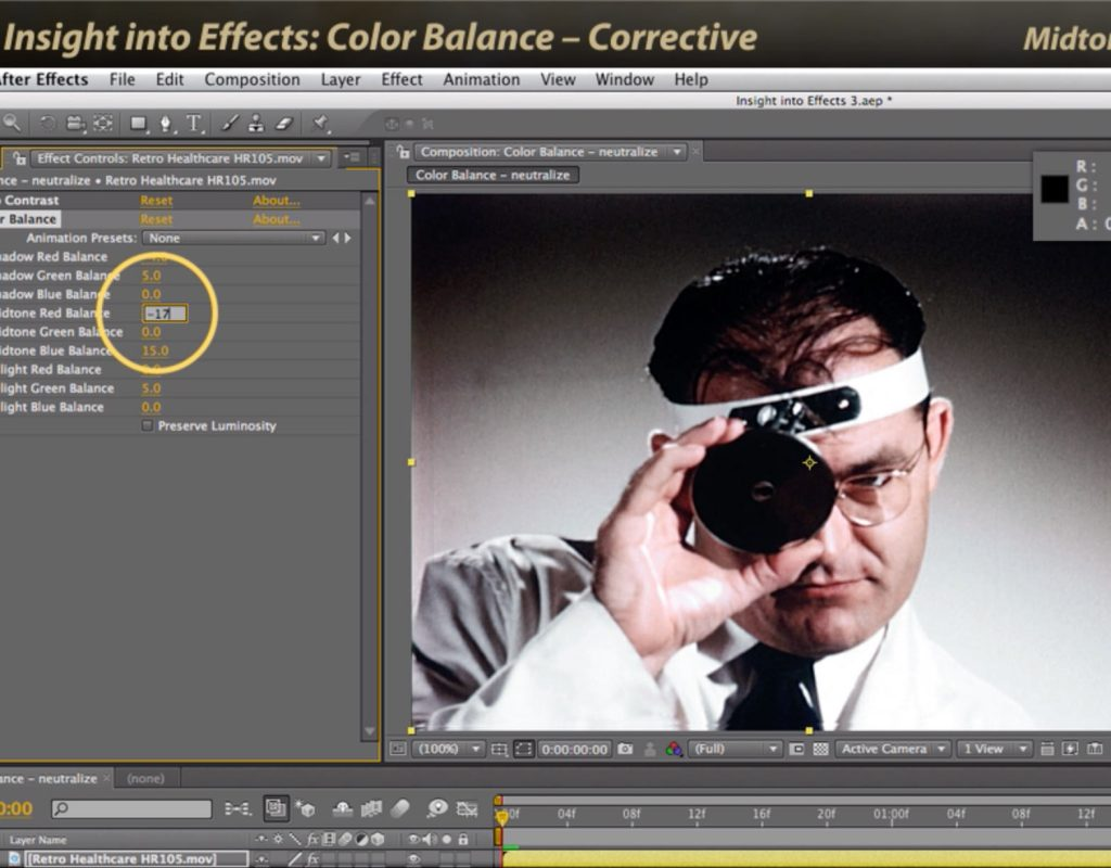After Effects Classic Course: Color Balance 1 – Corrective 1