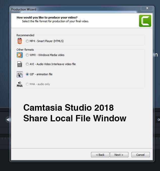 Camtasia Studio 2018 Current Export Window