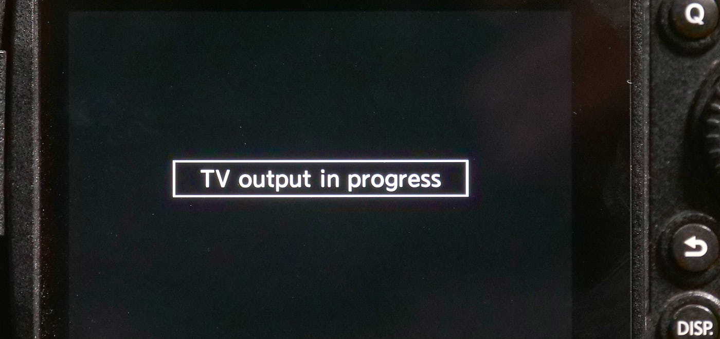 With HDMI plugged in, you see this in playback, or in the Wi-Fi menus