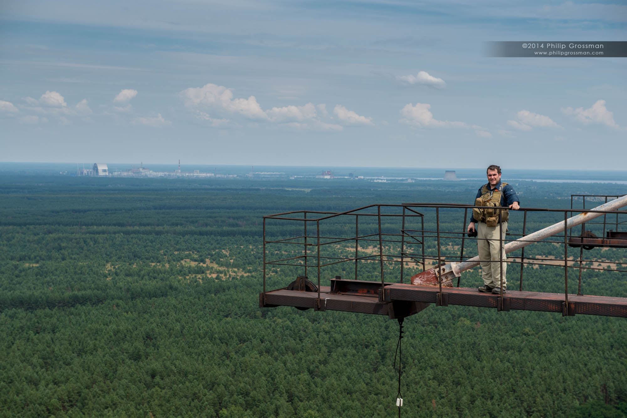 Philip standing on top of the DUGA Over the Horizon Radar structure.