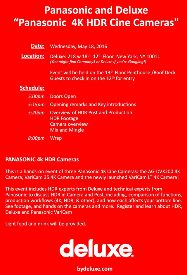 Deluxe invitation 4K HDR Cine cameras