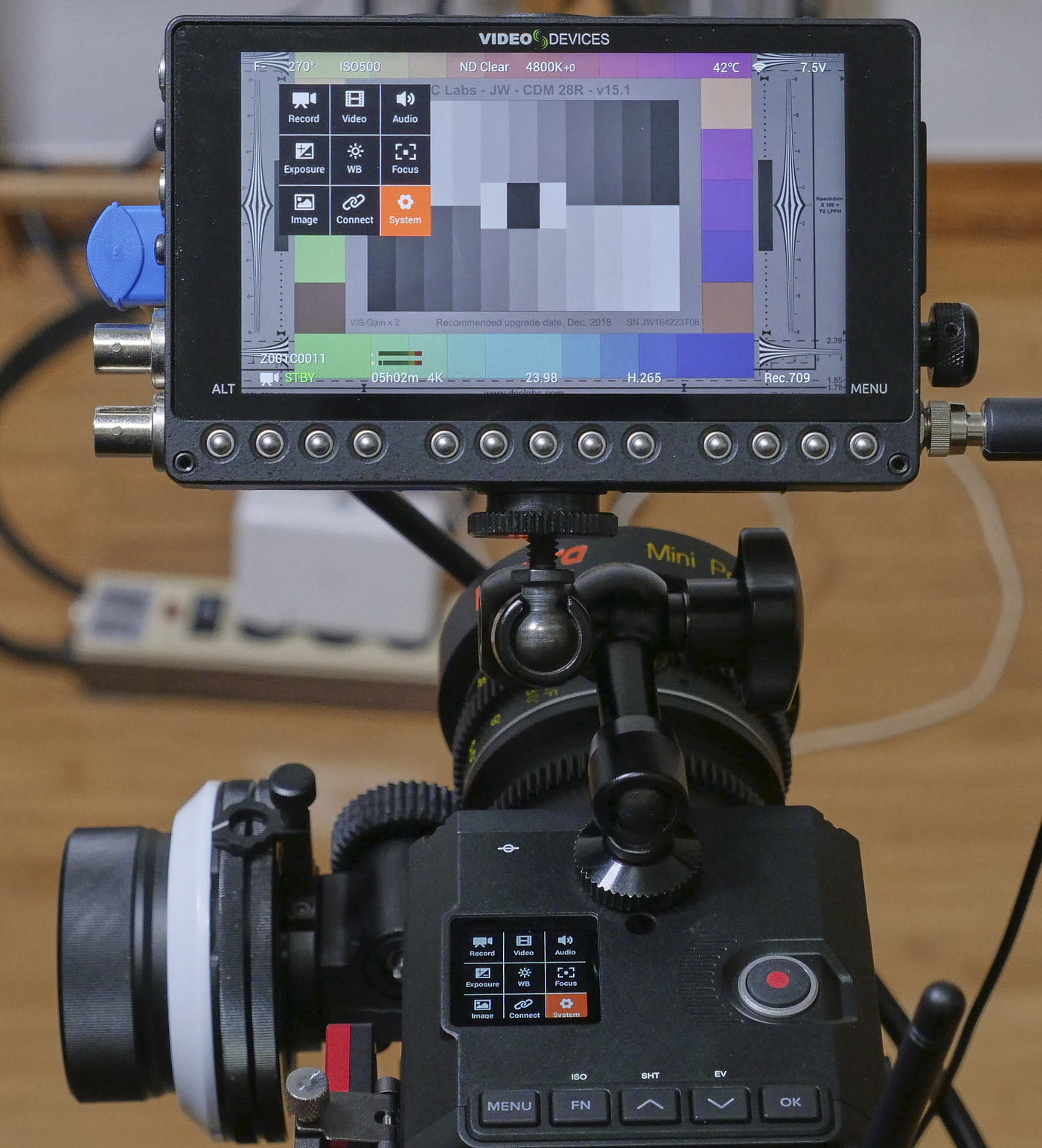 Z Cam E2-M4 top-level menu display