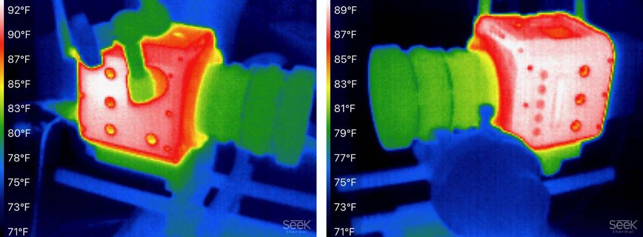 Thermal imaging shows even heat distribution
