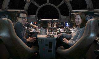 Star Wars: The Force Awakens..L to R: Director/Producer/Screenwriter J.J. Abrams and Producer Kathleen Kennedy..Ph: David James..© 2015 Lucasfilm Ltd. & TM. All Right Reserved.