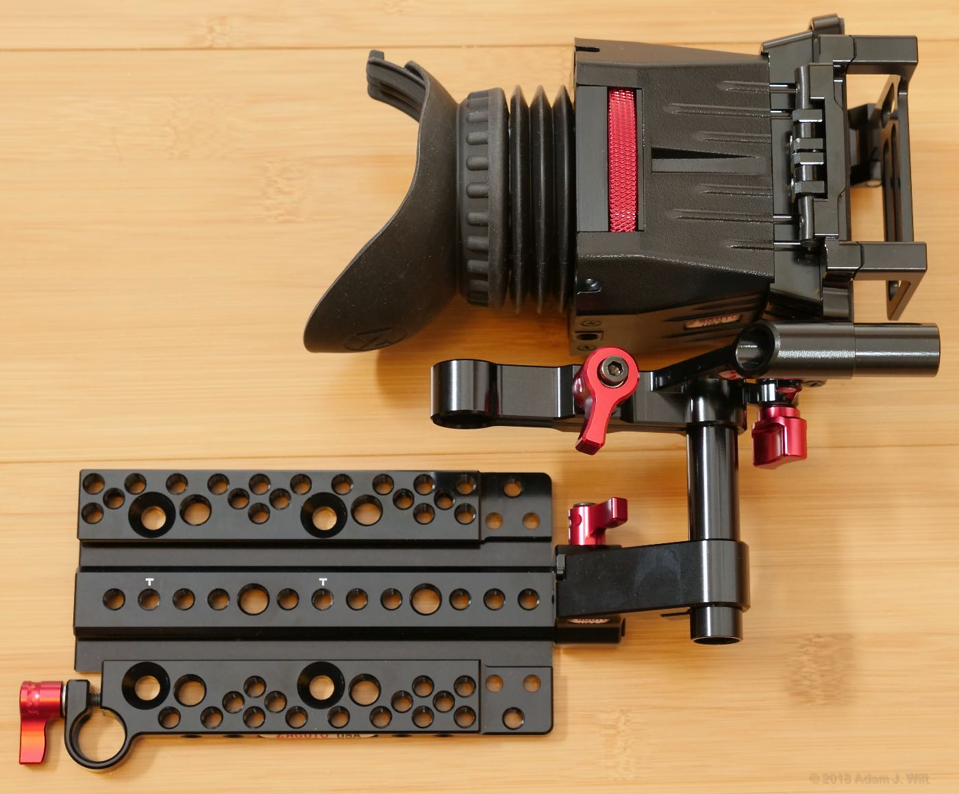 EVA1 Z-Finder, Z-Rail Axis Mount, and EVA1 Top Plate.