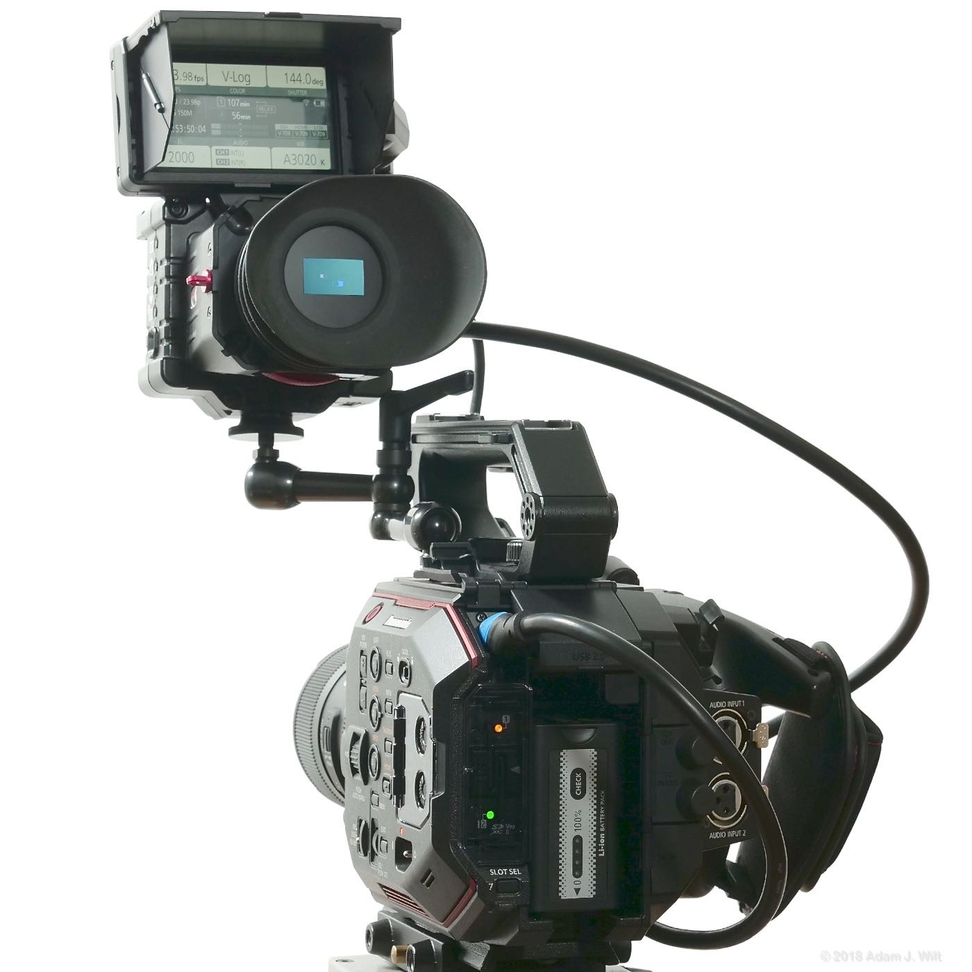 LCD monitor mounted on Zacuto EVF
