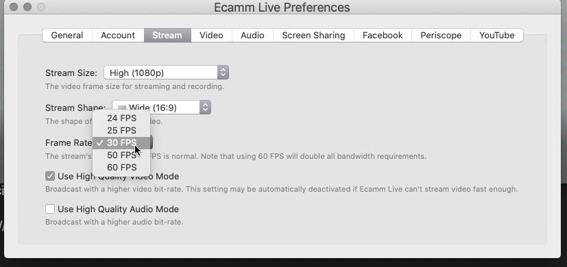 Understanding Ecamm Live's framerates and audio sampling 9