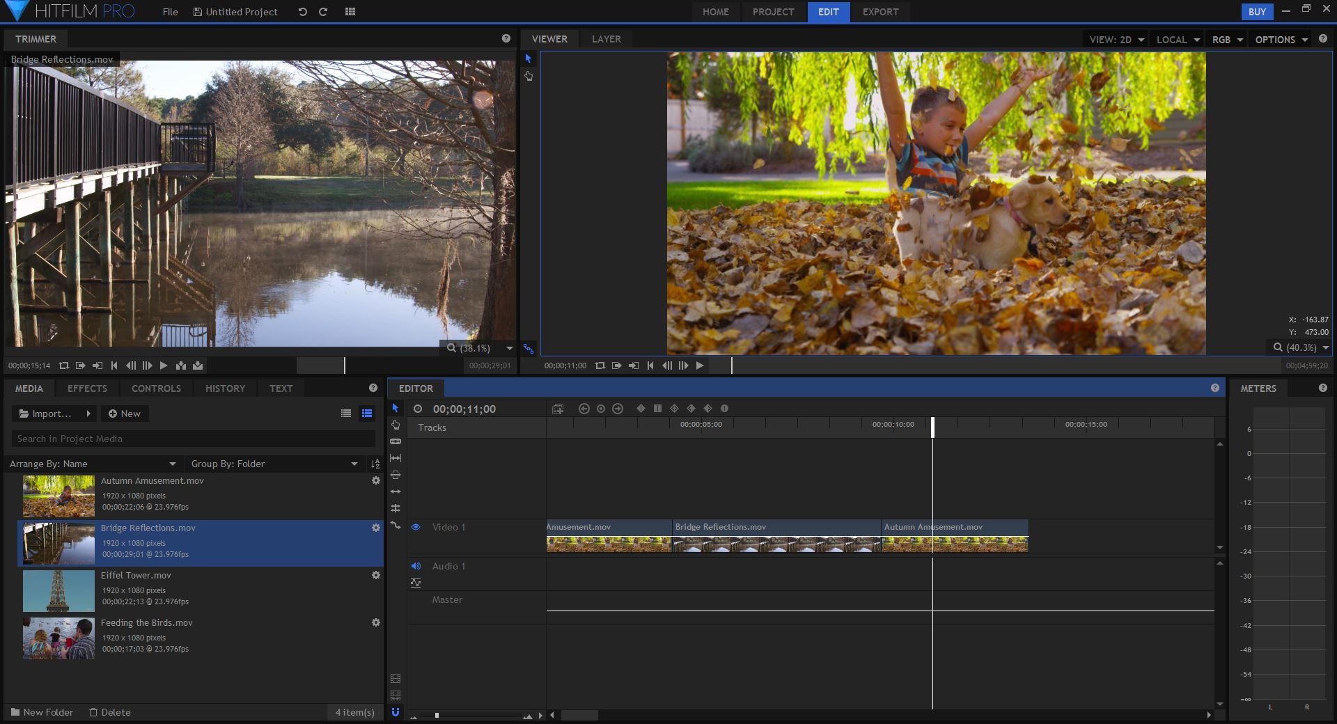 HitFilm Pro Editing Interface