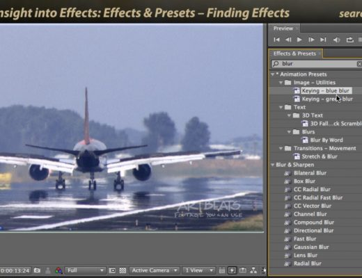 Searching using the Effects & Presets dialog in Adobe After Effects