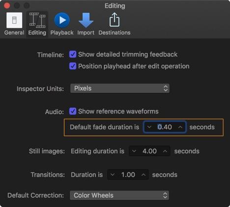 Final Cut Pro X audo preference