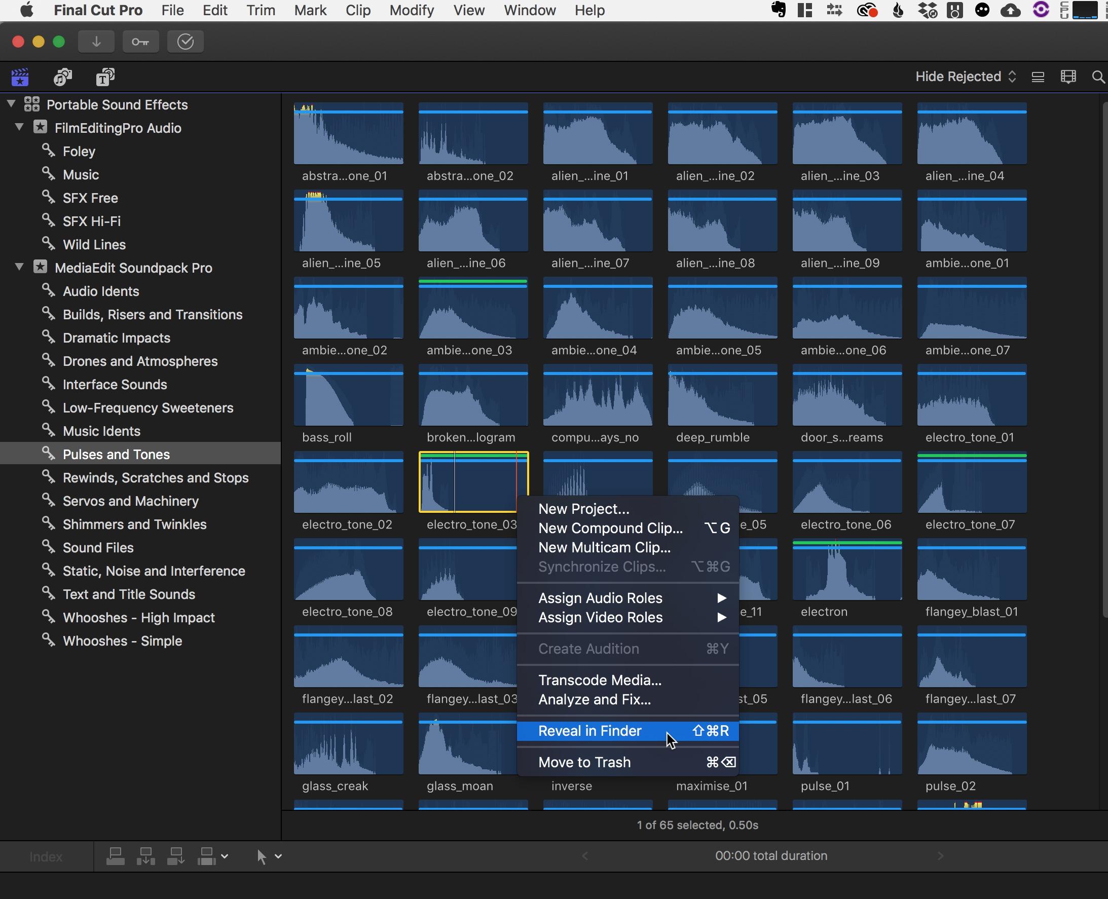Final Cut Pro X browse sound effects