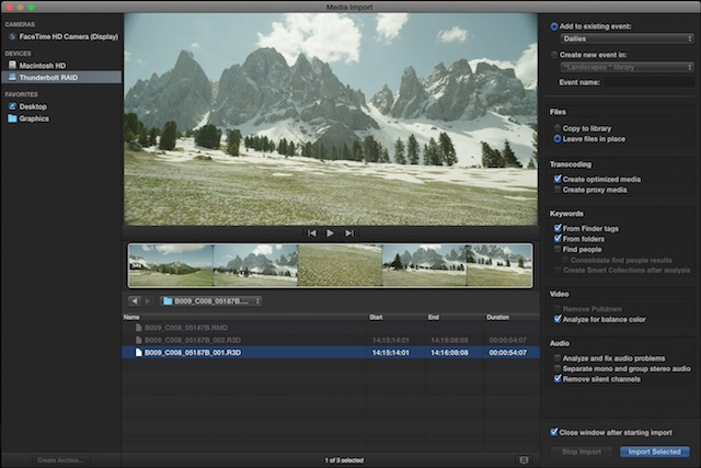 FCP X Single Import Window