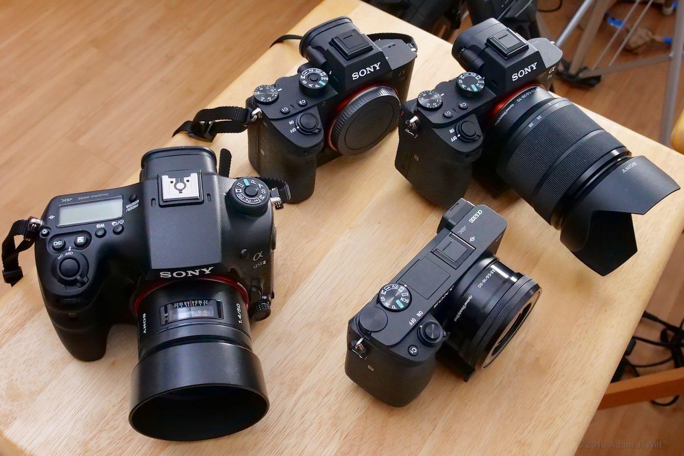 Four Sony mirrorless cameras