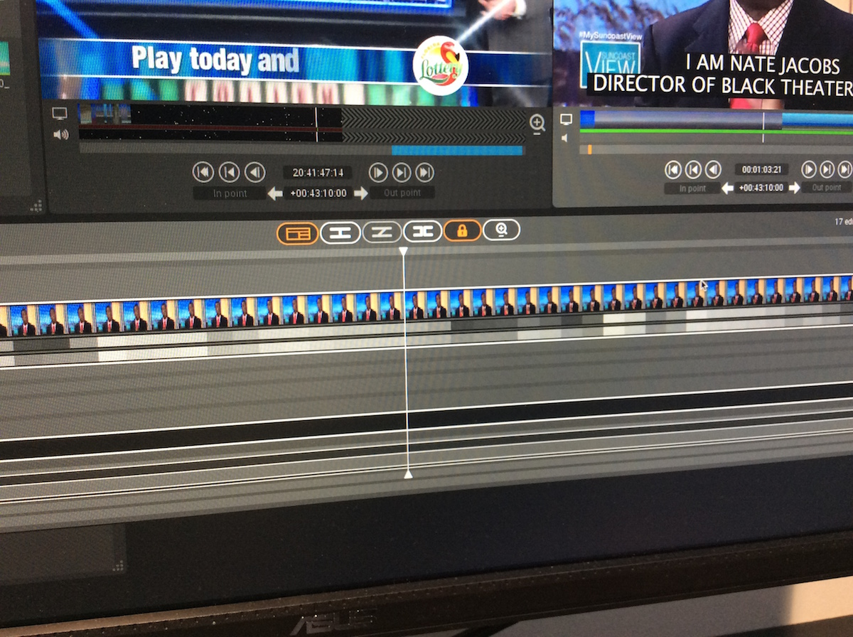 Zoomed in on the timeline you can see every frame in a clip as well as the black and white alternative to waveforms in the audio tracks.