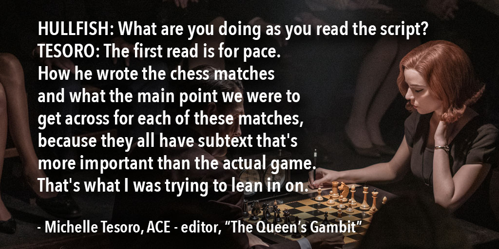 """ART OF THE CUT with Michelle Tesoro, ACE on editing """"The Queen's Gambit"""" 7"""