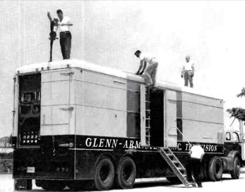 One of the first, if not the first color production/tape truck configurations. This Glenn-Armistead unit is at Edwards Air Force Base, California, doing a Tennessee Ernie Ford Show for NBC in 1961.