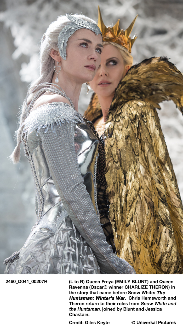 (L to R) Queen Freya (EMILY BLUNT) and Queen Ravenna (Oscar® winner CHARLIZE THERON) in the story that came before Snow White: The Huntsman: Winter's War. Chris Hemsworth and Theron return to their roles from Snow White and the Huntsman, joined by Blunt and Jessica Chastain.