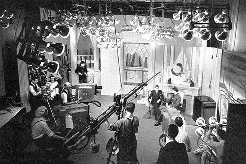 """Light banks like these were common in early television studios making the working conditions unbearable at times. From """"We Present Television"""" 1940"""