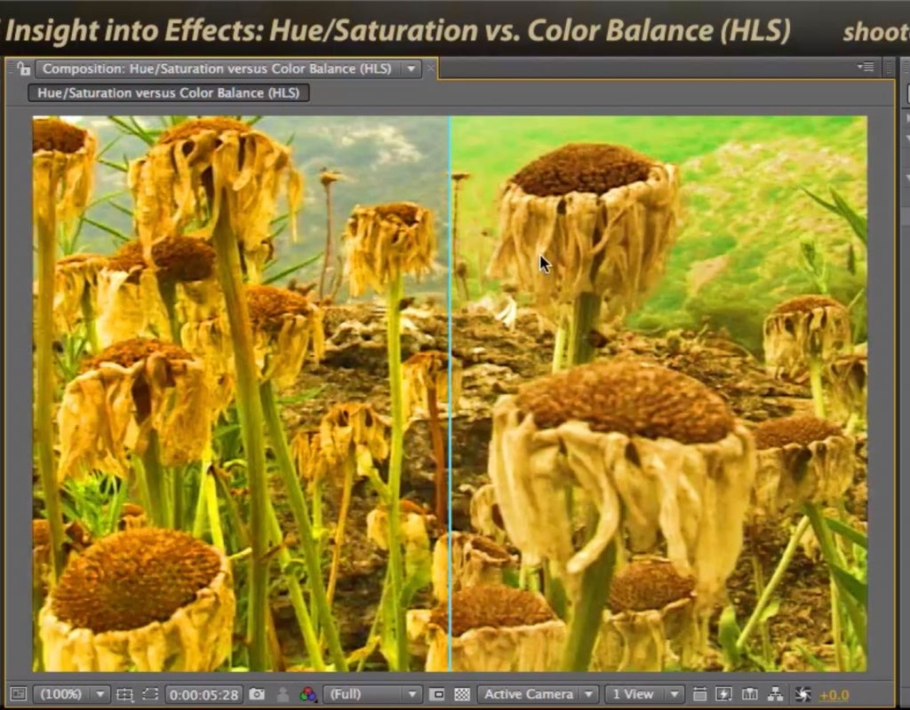 After Effects Classic Course: Hue/Saturation vs. Color Balance HLS 1