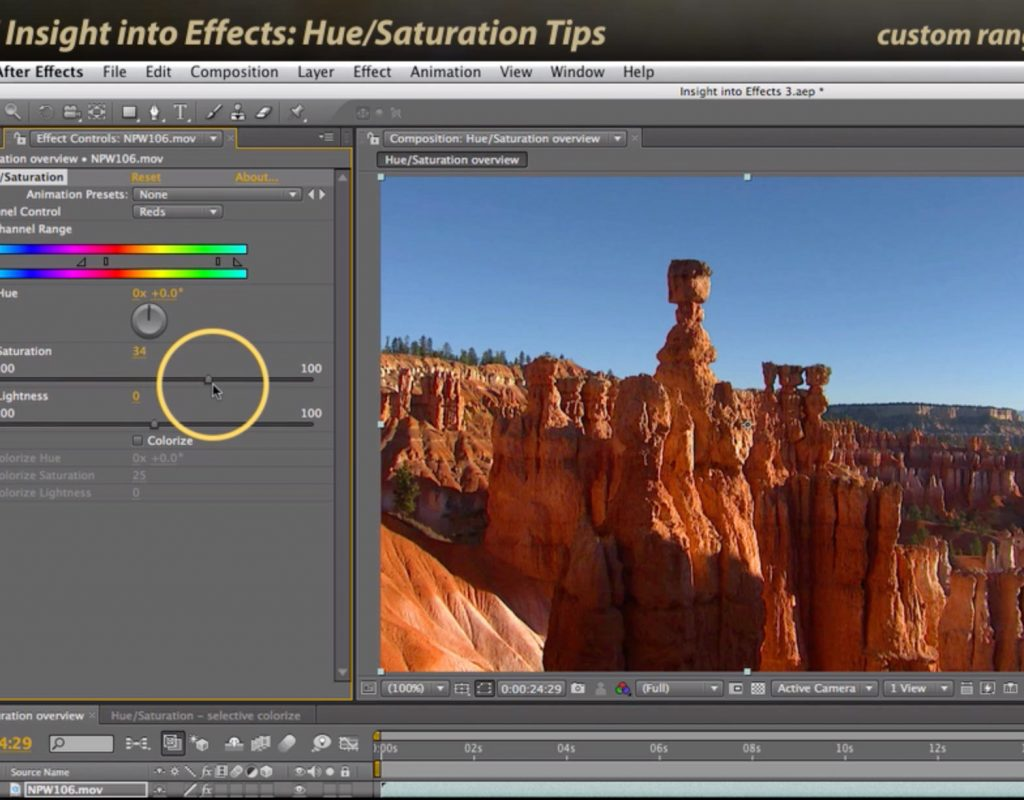 After Effects Classic Course: Hue Saturation Tips 1