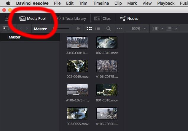 Fusion 15 Workflow - Media Pool shortcut