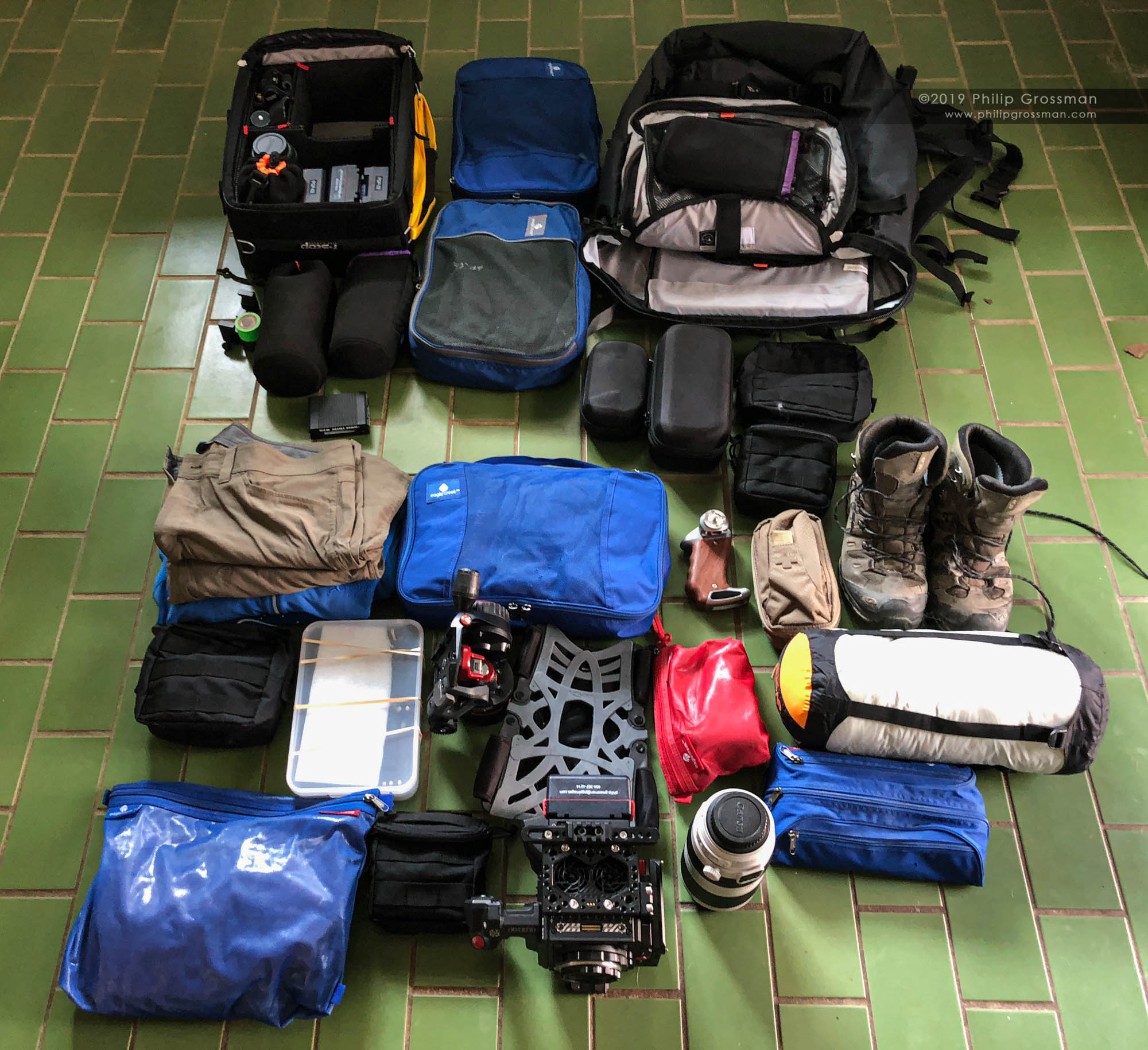 Philip's typical load out for an expedition.