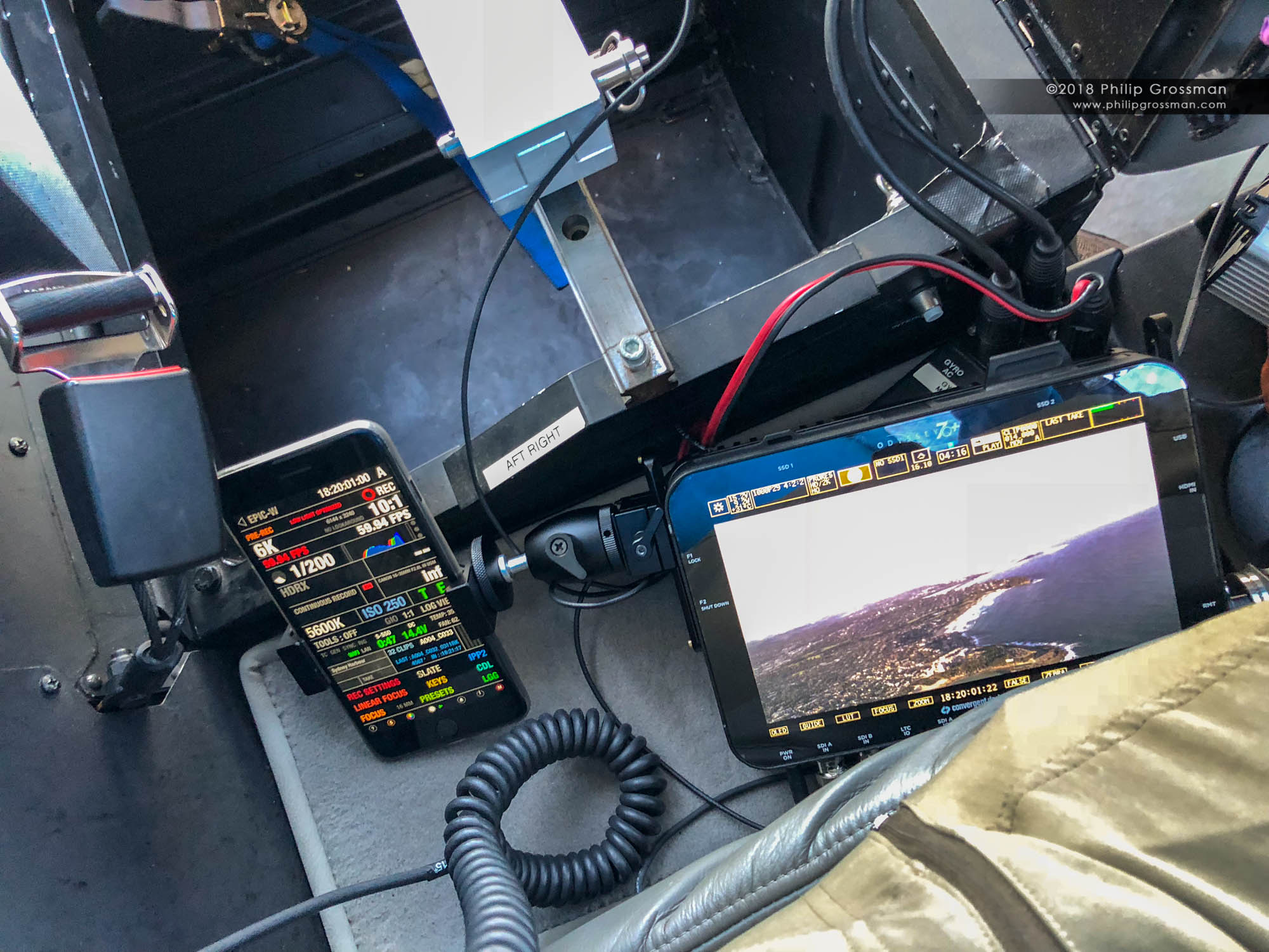 Philip's Odyssey 7Q+ and FoolControl to my RED DSMC2 Helium in the back of a Robinson R44 helicopter.
