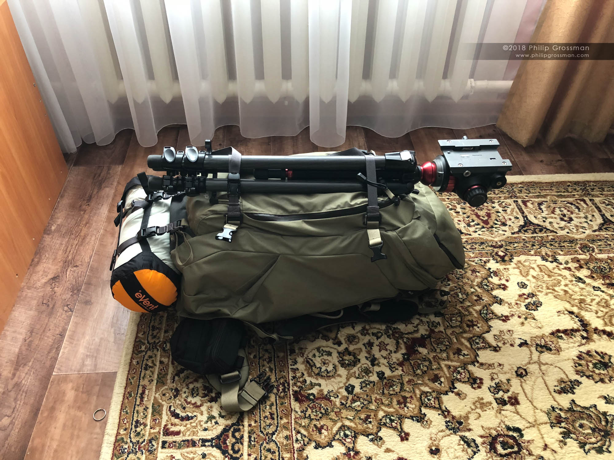 Philip's fStop Gear Suhka bag packed and ready for the 26 mile hike through the Kazakhstan high desert step.