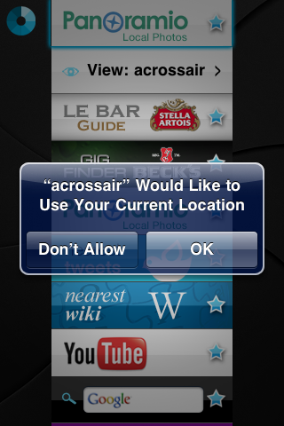 screengrab from iPhone of an app asking permission to use location data