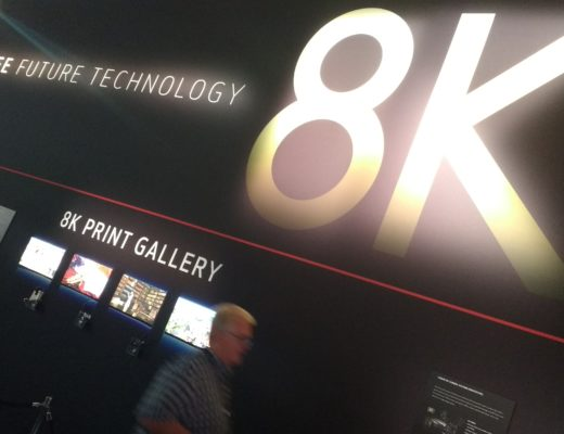 Photograph of a Canon exhibit at a trade show promoting 8K resolution
