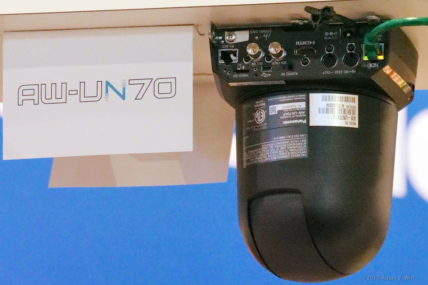 AW-UN70 NDI-enabled PTZ camera. Once cable carries signal, power, and control.