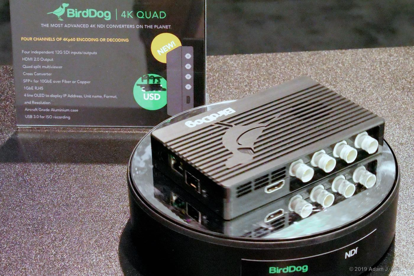 A quad converter sends four sources over a single Cat6 or fiber line.